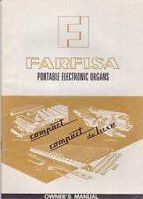 1966 Farfisa Portable Electric Piano Keyboard - Original Owners Manual