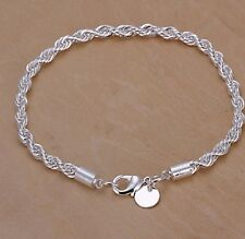 4mm 925 Sterling Silver Quality Twisted Rope Bracelet 8 Inch 20 cm Vintage BR01