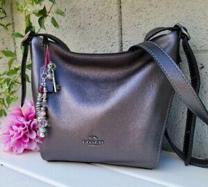 NEW Coach Leather mini Dufflette Crossbody Metallic Graphite purse 34187 hobo