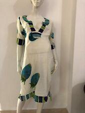 ANTICA SARTORIA: Vestito bianco fantasia blu e verde fragole
