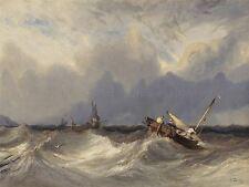 Isabey Francesa barcos de pesca lanzadas Storm Antiguo Arte Pintura Cartel bb5316a