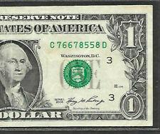 Fancy Serial Number 2006 $1  SUPER REPEATER C 76678558 D QUAD PAIRS