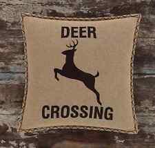 """Dawson Star Deer Crossing stenciled burlap pillow Primitive Rustic Cabin 18""""x18"""""""