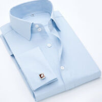 Luxury Mens Dress Shirts French Cuff Long Sleeve Business Work Multicolor ST6440