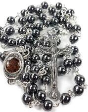 Hematite Rosary Soil Beads Jerusalem Holy Black Necklace Cross Crucifix Catholic