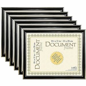 Pack of 6 MCS Economy Document Frames 8-1/2x11 Black with Gold Trim