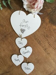 Personalised OUR FAMILY heart Gift Sign First home Sweet Home house warming Plaq