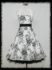 dress190 WHITE HALTER FLOCK TATTOO ROCKABILLY PROM PARTY COCKTAIL DRESS UK 18-20