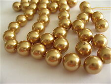 25 Bright Gold Swarovski Crystal Beads Pearls 5810 8mm