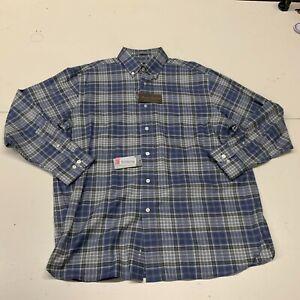 Daniel Cremieux Signature Collection Shirt Men's Large  NWT Blue Grey Plaid