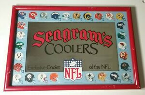 Vintage Seagram's Coolers NFL Advertising Mirror, Old School Helmets 1990's