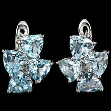 Sterling Silver 925 Four Stone Trillion Faceted Genuine Sky Blue Topaz Earrings