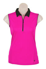 "Womens Sleeveless Sports Golf Polo ""Chess"" Pink Candy"