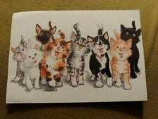 Vintage 60s Suzy Spafford Zoo, Gang of Happy Cats Framed Card Picture
