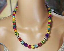Choker Necklace Skulls Multi Colour Halloween Day of the Dead Rockabilly Goth