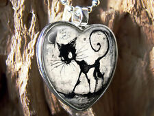 Cute Gothic Black Kitty Cat & Moon Silver Glass Heart Halloween Pendant Necklace