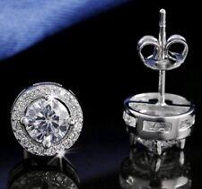 925 18k White Gold Round Cut Earrings Studs Cubic Zirconia Women's Jewellery