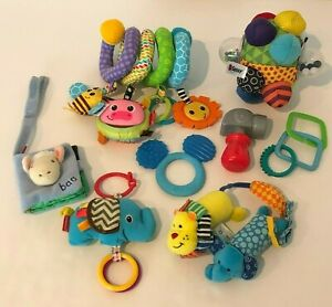 Baby Infant Rattle Teether Mirror Stroller Crib Toys Spiral Ball Lot of 8 Toys