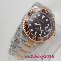 40mm parnis Black dial Saphirglas GMT LUME Automatisch Movement Uhr men's Watch