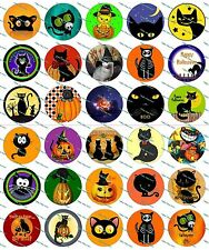 "30 Precut 1"" Halloween Cats Bottle cap Images Set 1"