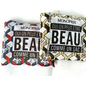2 bags monoprix French grocery shopping tote bag reusable supermarket Paris