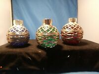 Godinger Silver Co. Christmas ORNAMENT Taper Candle Holders GLASS VINTAGE OLD3PC