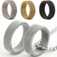 Stainless Steel Mesh Finger Rings Men Women Wedding Band Comfort Ring Jewellery