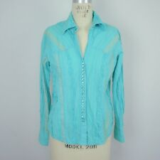 Scully Womens Western S Shirt Honey Creek Long Sleeve Stripe Turquoise Cotton X1
