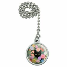 Black Cat Hiding in Spring Flowers Ceiling Fan and Light Pull Chain