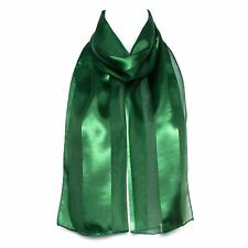 Chiffon Satin Plain Striped Elegant Ladies Scarf Dark Green