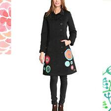 Magnifique veste manteau DESIGUAL noir rosacés   taille  44 tbe