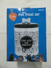 "Pet Central Ceramic Pet Treat Jar 9"" Tall x 6"" Diameter Silicone Ring Freshness"