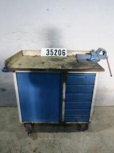 Fahrbare Werkbank Werktisch Werkstattwagen Werkzeugwagen mit Schraubstock #35206
