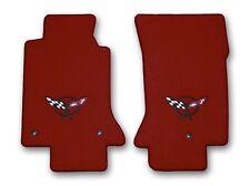 1997-2004 Chevrolet Corvette 2 Pc Red Carpet Floor Mats with Black C5 Flags Logo