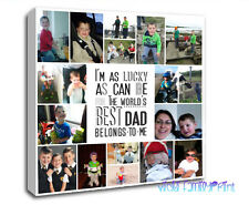 "20""x20"" PERSONALISED COLLAGE CANVAS PHOTO GIFT BIRTHDAY FATHERS DAY DAD QUOTE"