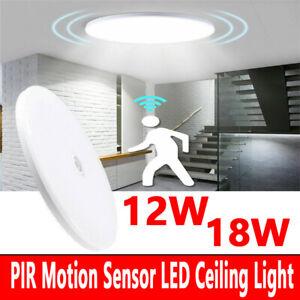 LED PIR Motion Sensor Ceiling Light Round Lamp 18W 12W For Hallway Corridor