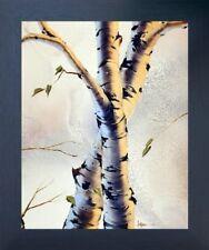 Aspen Forest Birch Trees Nature Wall Decor Espresso Framed Picture Art (20x24)
