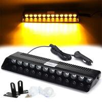 12V LED Amber Yellow Car Truck Warning Emergency Strobe Light Flashing Dash Lamp