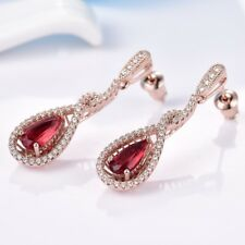 Women Pear Red Garnet Crystal Rose Gold Filled Long Chandelier Earrings Jewelry