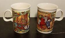 "Dunoon CHRISTMAS CHEER Mug set of 2, 4 1/8"", Stoneware, Scotland, Excellent"