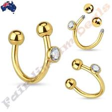 316L Surgical Steel Gold Ion Plated Horseshoe Ring with CZ Gem Set On Side