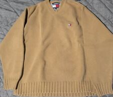 Vtg 90s Tommy Hilfiger Flag Sweater M Brown Polo Sport Spellout Colorblock USA