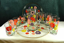 11-PCE VINTAGE WEST VIRGINIA GLASS CO. BEVERAGE PITCHER 8 GLASSES SET W/2 TRAYS