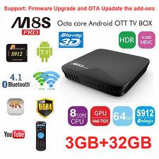 M8S PRO 4K Android 7.1 Smart TV Box 3G 32G DDR4 S912 Octa 8 Core WIFI adds-on HD