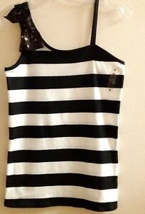 NEW ($29.90) JUSTICE Black/White One shoulder Sequin BOW Tank Top, Size 18 girls