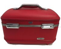 Vintage American Tourister Train Case Luggage RED with Mirror Make-up Bag