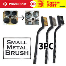 3x Stainless Steel Small Brush Cleaning Brushes Wire Spark Wheel Rust Scrub 18cm