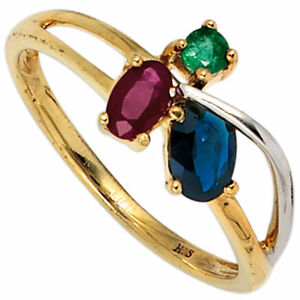 Ring Women's With Ruby Sapphire Emerald 585 Yellow Gold Red Blue Green
