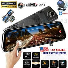 "10"" 1080P FHD Dash Cam Front and Rear Dual Lens Camera Car DVR Video Recorder US"