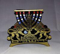 Vintage Jewish Menorah Napkin Mail Holder Judaica Jerusalem Shalom Brass Stamped